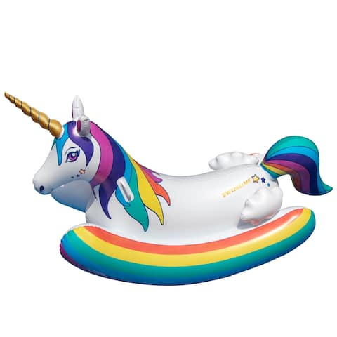 Inflatable White and Yellow Unicorn Rocker Swimming Pool Float, 14-Inch
