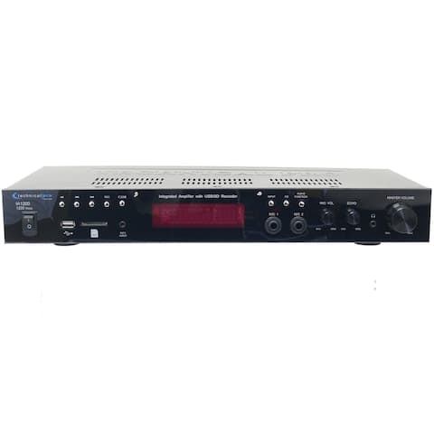 Technical Pro 1200 Watts Integrated Amplifier with Dual 1/4'' mic inputs with volume and echo controls, USB and SD Card Inputs