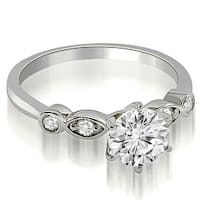 1.12 cttw. 14K White Gold Vintage Style Round Cut Diamond Engagement Ring