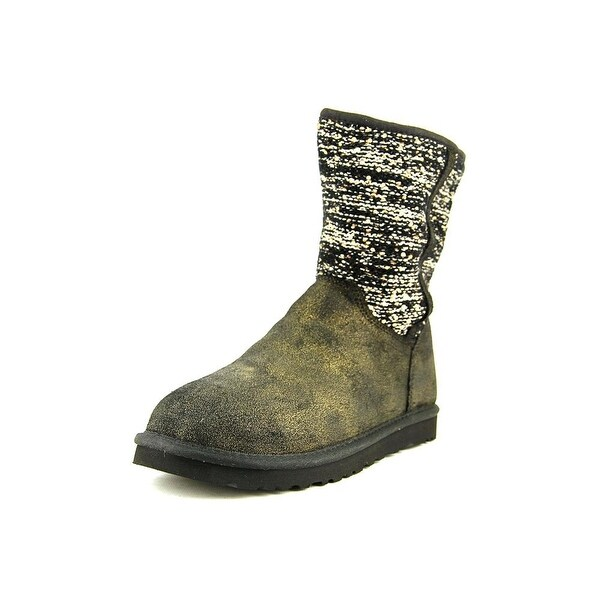 Ugg Australia Lyla Classic Metallic Women Round Toe Suede Black Snow Boot