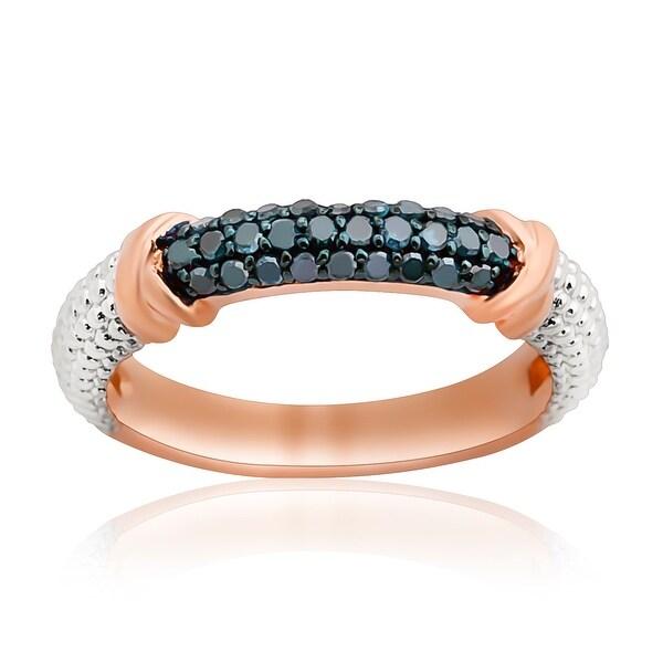 Prism Jewel 0.25Ct Round Blue Color Diamond Anniversary Ring