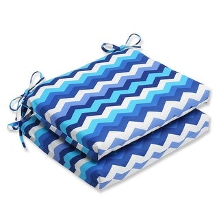 Set of 2 Rayas Azules Blue, Navy and White Chevron Striped Outdoor Patio Chair Cushions 18.5""