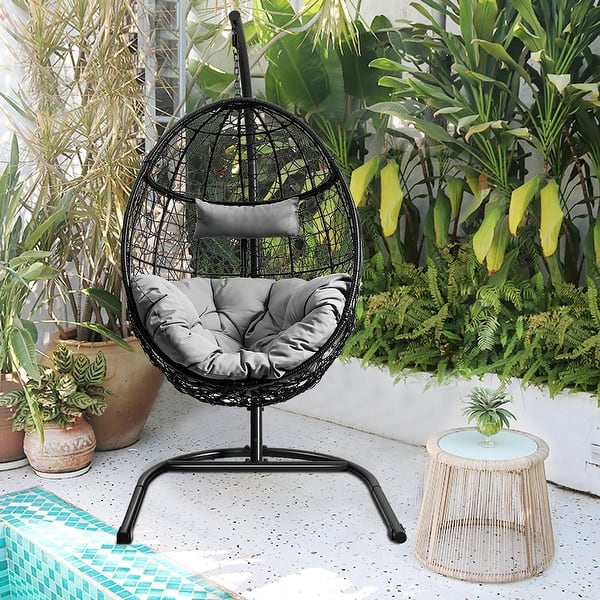 Costway Hammock Chair With Stand Hanging Cushioned Swing Egg Chair On Sale Overstock 31644512