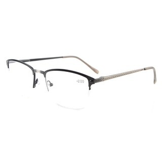 Eyekepper Quality Spring Hinges Brushed Metal Frame Half-rim Eyeglasses Rx-able Anti Silver+1.75