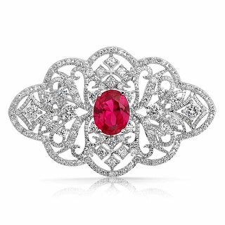 Bling Jewelry Oval Red Imitation Ruby CZ Flower Brooch Pin Rhodium Plated
