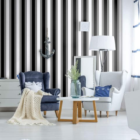 Black Striped Peel and Stick Removable Wallpaper 3712