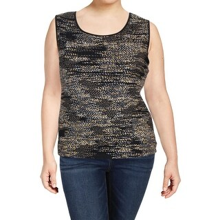 Kasper Womens Plus Tank Top Knit Metallic