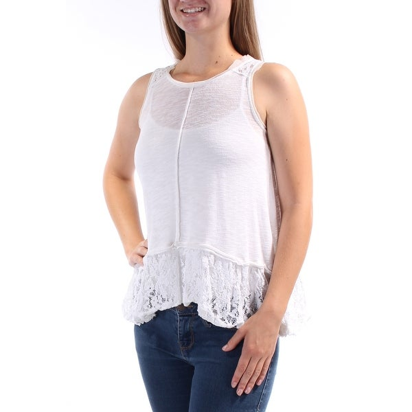 POOF $49 Womens New 1004 White Lace Jewel Neck Sleeveless Hi-Lo Casual Top S B+B
