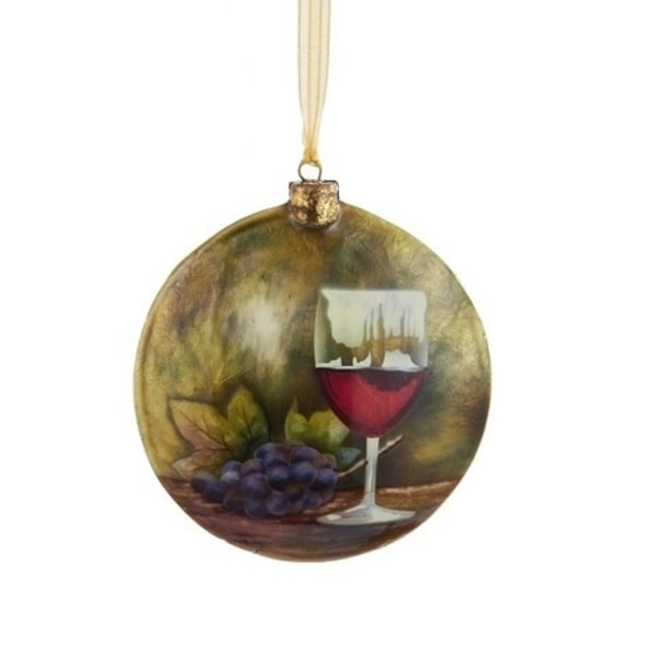 "4"" Capiz Red Wine Decorative Disc Christmas Ornament - brown"