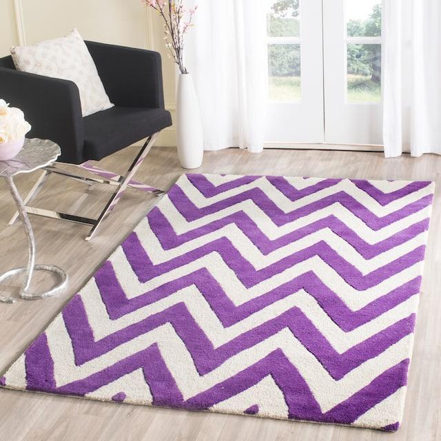 SAFAVIEH Handmade Cambridge Rinda Modern Moroccan Wool Rug - 4' x 6' - Purple/Ivory