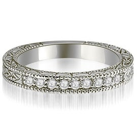 0.20 cttw. 14K White Gold Round Diamond Antique Wedding Band