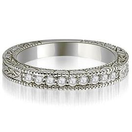 0.20 cttw. 14K White Gold Round Diamond Antique Wedding Band