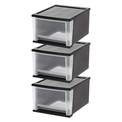 17 Qt. Stacking Drawer in Black (3-Pack)