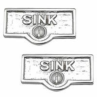 2 Switch Plate Tags SINK Name Signs Labels Chrome Brass | Renovator's Supply