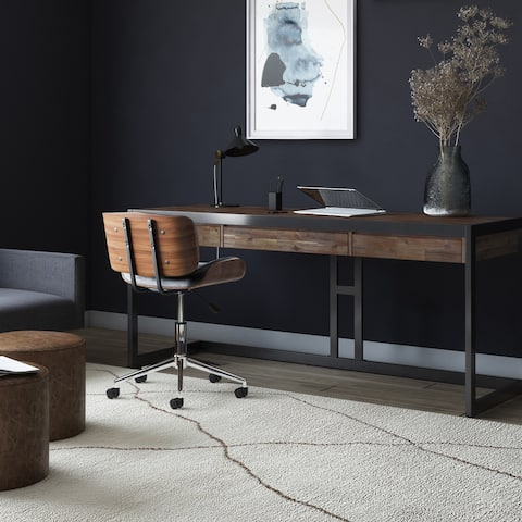 WYNDENHALL Cecilia SOLID ACACIA WOOD Modern Industrial 72 inch Wide Large Desk in Rustic Natural Aged Brown