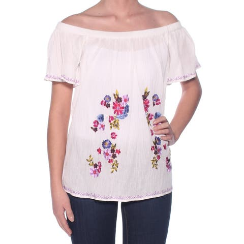 FRENCH CONNECTION Womens White Embroidered Short Sleeve Off Shoulder Peasant Top Size: XS