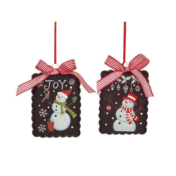 """Pack of 6 Festive Christmas Snowman Ornament with Bow Glass Ornament 5"""""""
