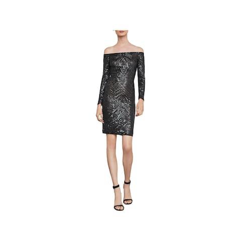 BCBG Max Azria Womens Eunice Cocktail Dress Sequin Off-The-Shoulder