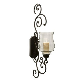 """Majestic Iron Scrollwork and Glass Candle Holder Wall Sconce 40"""""""