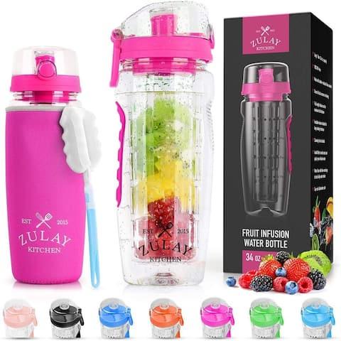 Zulay Water Bottle Fruit Infuser 34oz - Flamingo Pink - With Sleeve