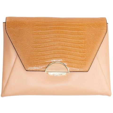 BCBGMAXAZRIA Womens Madelina Clutch Handbag Leather Convertible - Large