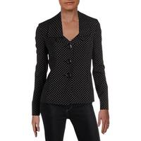 Le Suit Womens Three-Button Blazer Polka Dot Office