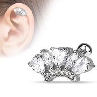 {Clear} Marquise and Pear Shape CZ Fan 316L Surgical Steel Cartilage/Tragus Barbell (Sold Ind.)