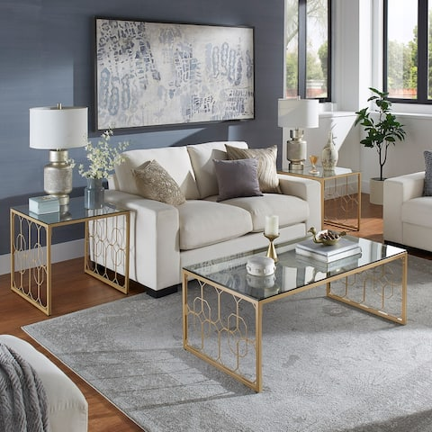 Elle Octagon Pattern Gold Metal and Glass Table by iNSPIRE Q Bold