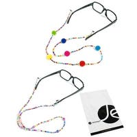 JAVOedge (2 PCS SET) Eyeglass Chain Decorative or Sunglasses Cord Spectacles Chain Holder - colorful beads (2 pack)