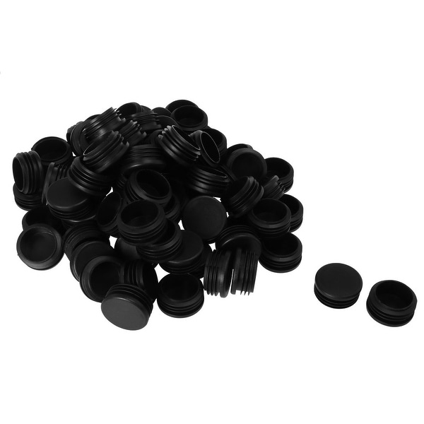 "Plastic Round Tube Insert Glide End Cap Pad 45mm 1.77"" OD 80pcs Black Furniture Leg Steel Iron Shelve Protector"