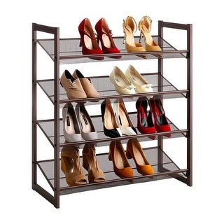 LANGRIA 4-Tier Metal Shoe Rack Utility Shoe Titled Wire Mesh Shelves, Copper Finish, No Tools Required