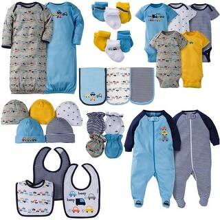 Gerber Baby Boys 30 Piece Essentials Gift Set, Cars - Blue