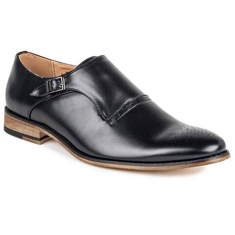 Gino Vitale Men's Single Monk Strap Brogue Dress Shoes