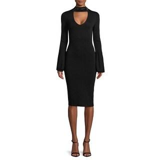 RACHEL Rachel Roy NEW Black Womens Size XS Beaded-Neck Sheath Dress