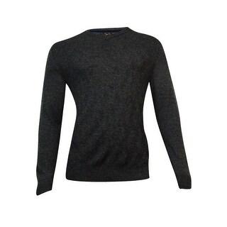 Club Room Men's Merino Lattice V-Neck Sweater (Ebony Heather, S) - ebony heather - S