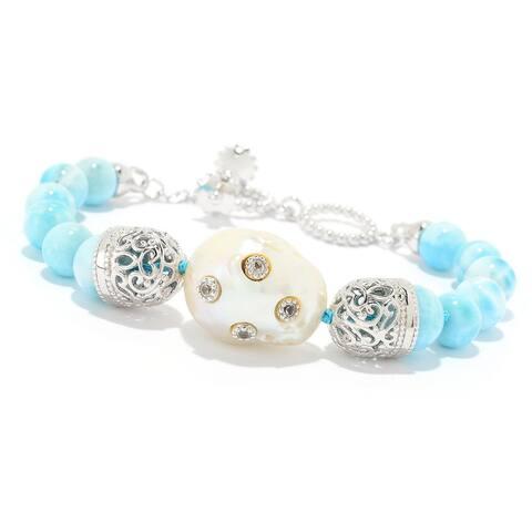 Dallas Prince Designs Sterling Silver 21 x 13mm Baroque Cultured Pearl & Multi Gem Toggle Bracelet