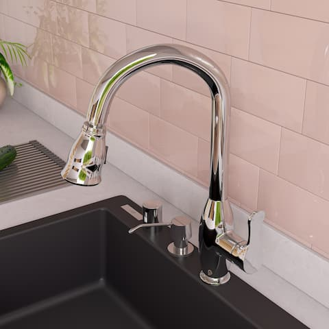 Polished Chrome Traditional Gooseneck Pull Down Kitchen Faucet