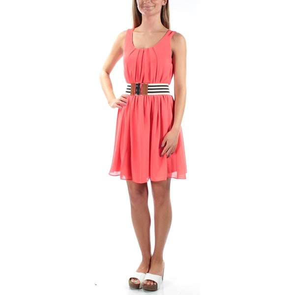 BCX Womens Coral Pleated, Belted Sleeveless Scoop Neck Knee Length Fit + Flare Dress Size: 2XS