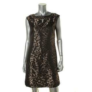 Tahari ASL Womens Mike Leopard-Print Keyhole Casual Dress - 6
