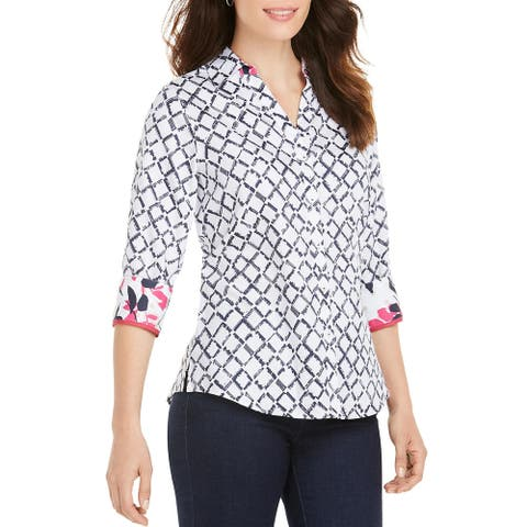 Foxcroft NYC Womens Mary Button-Down Top Cotton Printed - White
