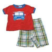 B-One Surf Dude 2 Piece Red T-Shirt Plaid Shorts Set Boys 4-7