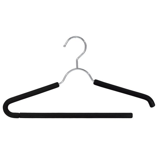 Open Ended with Easy to Slide and Black Friction Padded Foam Closet Spice Chrome Suit Hanger Black Set of 6
