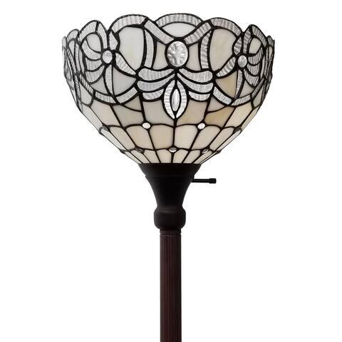 "Tiffany Style White Torchiere Floor Lamp 72"" Tall AM284FL12B Amora Lighting"