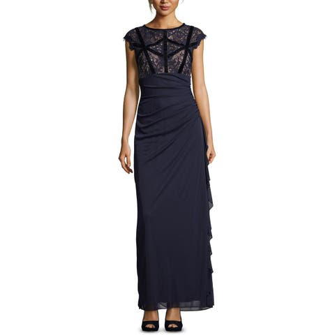 B&A by Betsy and Adam Womens Petites Evening Dress Lace Ruched