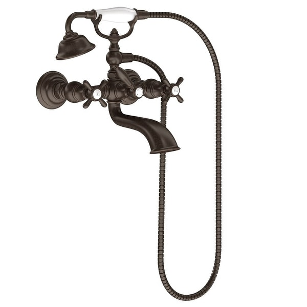 Moen S22105 Weymouth Wall Mounted Clawfoot Tub Filler with Built-In Diverter, Cross Handles, and Hand Shower - Risers and