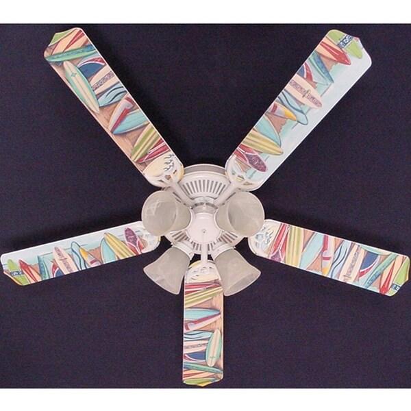 Hawaiian Surf Boards Print Blades 52in Ceiling Fan Light Kit - Multi