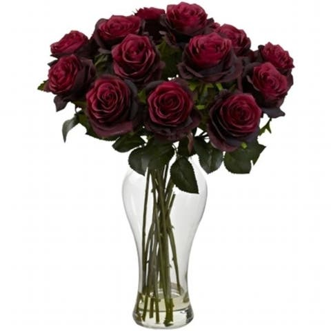 Nearly Natural 1328-BG Blooming Roses With Vase - Burgundy