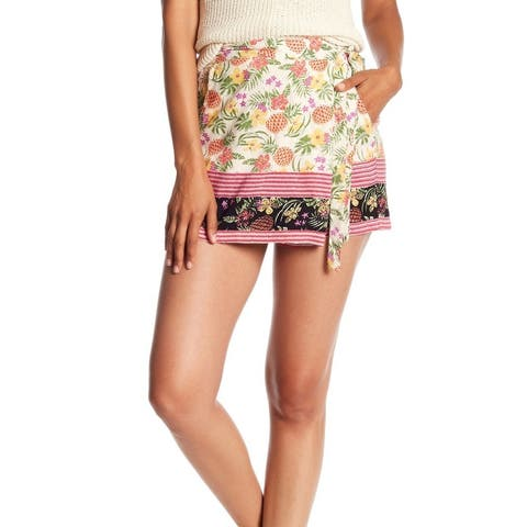 Angie Womens Shorts Small Side Tie Faux Wrap Pineapple
