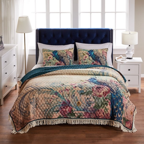 Barefoot Bungalow Eden Peacock Oversized Quilt and Pillow Sham Set. Opens flyout.