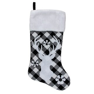 20.5 Black and White Plaid Rustic Reindeer Snowflake Christmas Stocking